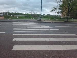 Фотография примера абсурдности организации дорожного движения правительством Москвы. Организация данного перехода была устроена таким образом, что граждане при переходе проезжей части упирались в железные ограждения.
